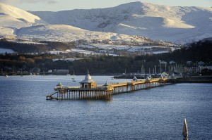 Pier Bangor Snow on mountains in distance Menai Strait North Towns And Villages